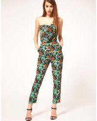 ASOS - Green Jumpsuit In Tropical Print - Lyst