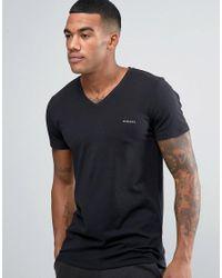 DIESEL | Logo V Neck T-shirt In Stretch Cotton Black for Men | Lyst