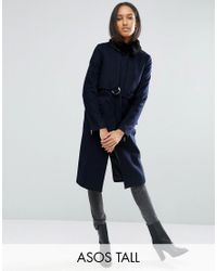 ASOS | Blue Coat With Faux Fur Collar And Belt In Wool Mix | Lyst