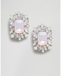 ASOS - Metallic Square Jewel Stud Earrings - Lyst