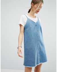 ASOS | Denim Slip Dress With Raw Hem In Mid Wash Blue | Lyst