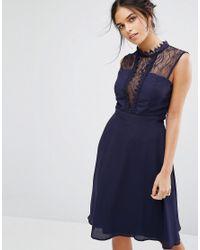 Elise Ryan | Blue Sleeveless Midi Dress With Contrast Lace Bodice | Lyst