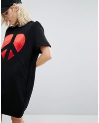 Love Moschino | Black Peace And Heart Sweat Dress | Lyst