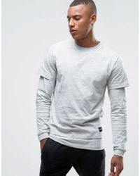 Only & Sons | Gray Long Sleeve Top With Faux Layered Arms And Hem for Men | Lyst
