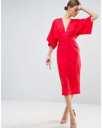 ASOS | Red Kimono Plunge Midi Dress | Lyst