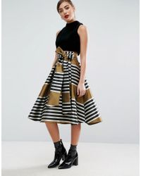 ASOS | Black Prom Skirt In Stripe With Bow | Lyst