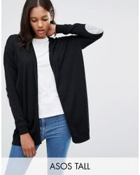 ASOS | Black Swing Cardigan With Grey Oval Elbow Patch | Lyst