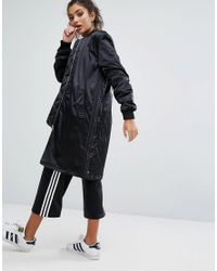 Adidas Originals - Black Originals Longline Bomber Jacket With Popper Sides - Lyst