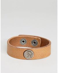 DIESEL | A-shoot Logo Leather Bracelet In Brown for Men | Lyst