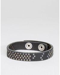 DIESEL | A-studdler Leather Bracelet In Black for Men | Lyst
