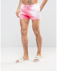 Boardies - Pink Boardies Shortie Swim Shorts With Spray Paint Print for Men - Lyst