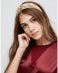 ASOS   Black Statement Metallic Flower & Jewel Headband   Lyst