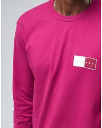 Stussy - Pink Long Sleeve T-shirt With Two Tone Back Print for Men - Lyst