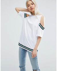 ASOS | White T-shirt With Placed Stripe Insert | Lyst