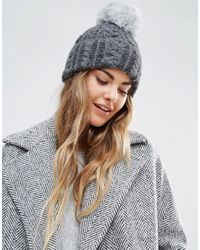 Helene Berman | Gray Cable Knit Beanie Hat With Faux Fur Pom Pom | Lyst