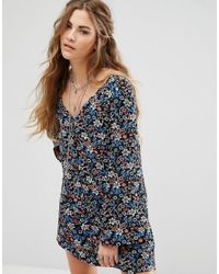 Glamorous | Blue Long Sleeve Button Front Tea Dress In Vintage Floral | Lyst