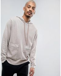 ASOS   Blue Hoodie With Woven Pockets & Acid Wash for Men   Lyst