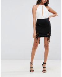 ASOS - Black Rib Mini Skirt With Lace Up Detail - Lyst