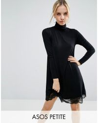 ASOS | Black Swing Dress With Lace Hem And Polo Neck | Lyst