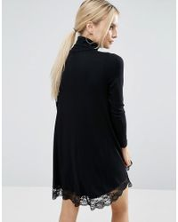 ASOS - Black Swing Dress With Lace Hem And Polo Neck - Lyst