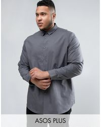 ASOS - Gray Plus Regular Fit Charcoal Shirt for Men - Lyst