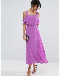 ASOS   Purple Cami Cold Shoulder Flutter Sleeve Midi Dress   Lyst
