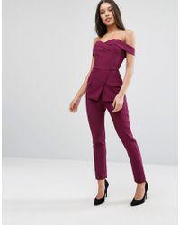 Lavish Alice - Pink Tux Detail Tailored Jumpsuit - Lyst