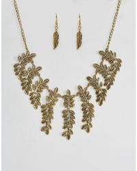 Ruby Rocks - Metallic Leaf Detail Necklace And Earring Set - Lyst