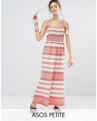 ASOS | Multicolor Shirred Maxi Dress With Pom Pom Detail | Lyst