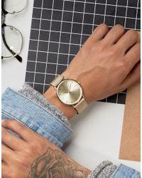 ASOS - Metallic Mesh Strap Watch In Gold for Men - Lyst