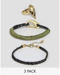ASOS | Metallic Ring And Bracelet Pack With Animal Skull | Lyst