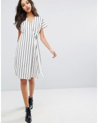 Vero Moda - Multicolor Striped Wrap Tea Dress - Lyst