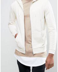 ASOS - Natural Tall Zip Up Hoodie In Beige for Men - Lyst