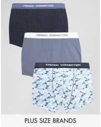 French Connection | Green Plus 3 Pack Trunks for Men | Lyst