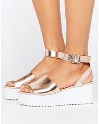 ASOS | Metallic Take Off Wedge Sandals | Lyst