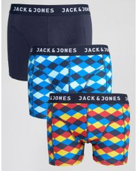 Jack & Jones | Blue Trunks 3 Pack Pattern for Men | Lyst