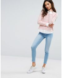 ONLY - Pink Shirt Detail Sweater - Lyst