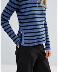 Ganni - Blue Morissette Striped Long Sleeve Jumper - Lyst