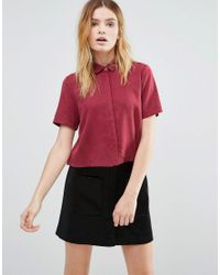 Native Youth | Red Tencel Print Cropped Shirt | Lyst