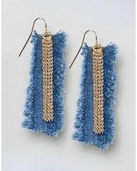 ASOS - Blue Limited Edition Denim Frayed Earrings - Lyst
