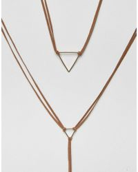ASOS - Brown Limited Edition Fine Open Triangle Wrapped Bolo Choker Necklace - Lyst