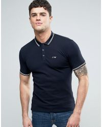 Armani Jeans   Blue Slim Fit Pique Polo Tipped Logo In Navy for Men   Lyst