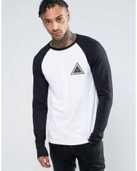 ASOS - White Muscle Raglan Long Sleeve With City Triangle Chest Print for Men - Lyst