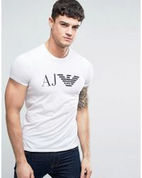 Armani Jeans | Eagle Logo T-shirt Slim Fit In White for Men | Lyst