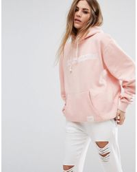 Criminal Damage | Pink Oversized Hoodie With Tonal Logo | Lyst