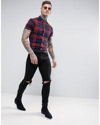 ASOS - Red Stretch Skinny Check Shirt In Burgundy for Men - Lyst