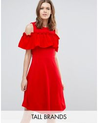 Y.A.S | Red Nina Ruffle Cold Shoulder Skater Dress | Lyst