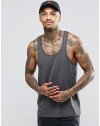 ASOS | Gray Tank In Charcoal Marl for Men | Lyst
