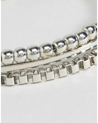 ASOS - Metallic Pack Of 3 Box Chain And Metal Bead Bracelets - Lyst