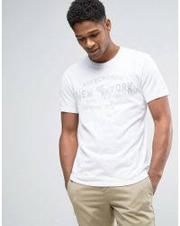 Abercrombie & Fitch | T-shirt Flock Logo In White for Men | Lyst